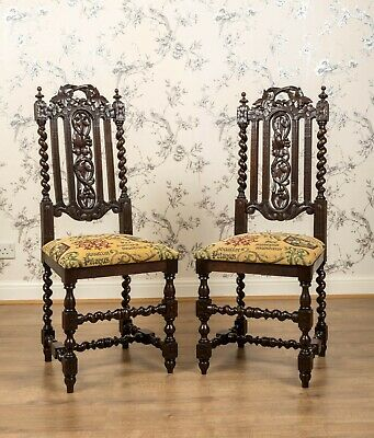 Antique Set of 2 Victorian Oak High Back Carved Hall Chairs Gothic Furniture