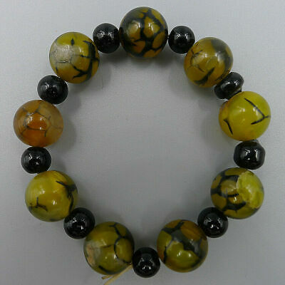 Handmade Multicolor Matte Agate Onyx Natural Jewelry Bangle Charm Obsidian Beads