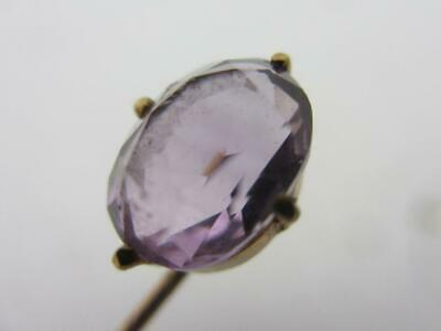 Amethyst in 9k Gold Stick Pin Brooch Antique Victorian c1890. tbj07666