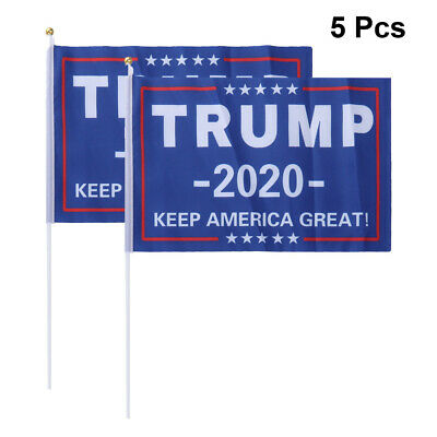 5pcs Small Hand Flags Keep America Great Trump 2020 Flag for Election Mini Flags