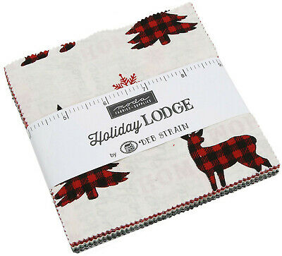 "Holiday Lodge Moda Charm Pack 42 100% Cotton 5"" Precut Fabric Quilt Squares"