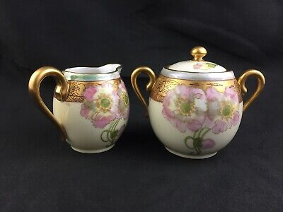 🔷 Antique Pickard China TWIN POPPY Pattern Creamer & Sugar - Artist Signed