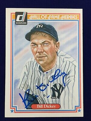 1983 Donruss Hall Of Fame Heroes Autographed Bill Dickey Card #26 NY Yankees