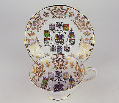 Paragon Tea Cup & Saucer Canada Coats of Arms & Emblems vintage England teacup