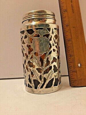 Antique Sterling Silver Overlay Bottle Amber Screw Top