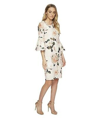 CALVIN KLEIN New WT Exquisite BLUSH MULTI Floral Bell sleeves Dress Size 4