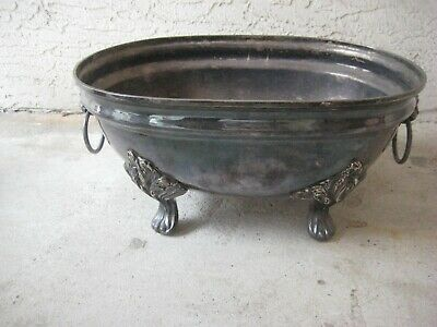 Vintage Silver Plated Bowl / Lion Head Handles / Repurpose / Home Decor