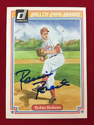 1983 Donruss Hall Of Fame Heroes Autographed Robin Roberts Card #41 HOF Phillies
