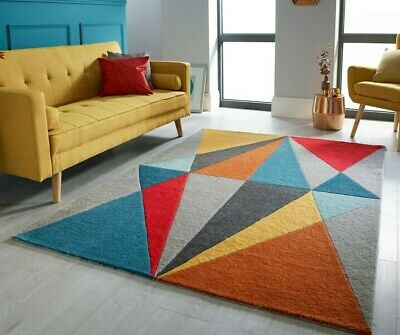 Modern Super Soft Colourful Thick Diamonds Prisms Geometric Infinite Carved Rugs