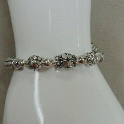 "Awesome 7 3/4"" Fancy Oxidized Bali .925 Sterling Silver Bracelet"