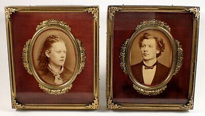 PAIR Antique Victorian French Brass Bronze Gilt Velvet Shadow Box Picture Frame