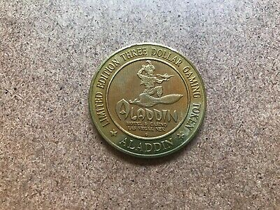 Vintage Las Vegas Nevada Aladdin Casino $3 Dollar Gaming Gambling Coin Chip