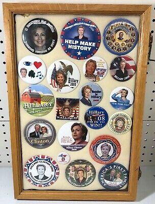 Hillary Clinton Presidential Campaign Buttons in Case (20 Buttons) Case Included