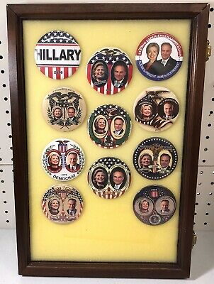 Hillary Clinton Presidential Campaign Buttons in Case (11 Buttons) Case Included
