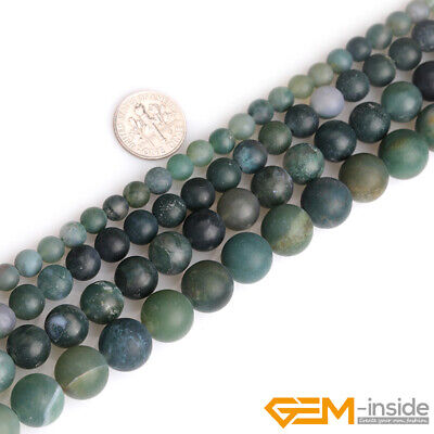 """Natural Moss Agate Stone Green Semi Precious Forested Matt Round Loose Beads 15"""""""