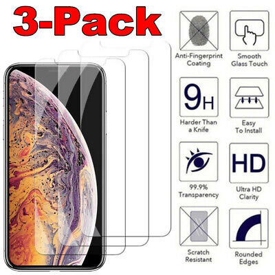 3 Pack Premium Tempered Glass Screen Protector For iPhone X XR XS Max 6 7 8 Plus