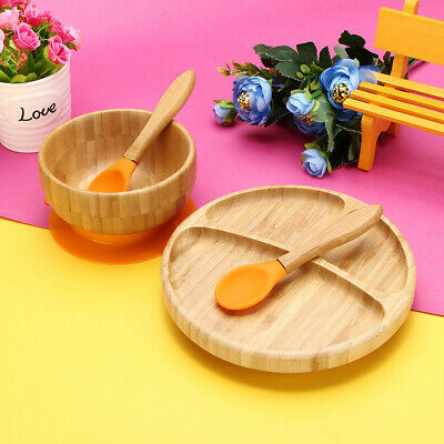 Baby Kids Natural Bamboo Toddler Bowl Spoon Plate Suction Feeding Put Stay Set