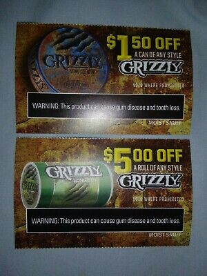 $1.50 Off A Can & $5 A Roll Any Style Grizzly (Chewing Tobacco) Coupons 8/31/19