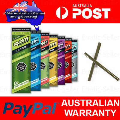 KUSH Herbal Wraps Ultra Slow Burn Hemp Wrap Cigarette Flavoured Tip Blunt Papers