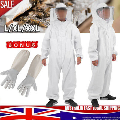 Full Beekeeping Suit Bee Suit Heavy Duty with Leather Keeping Gloves L-XXL White