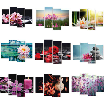 Canvas painting wall art decor Print Flower White Lotus In Black Wall  Picture
