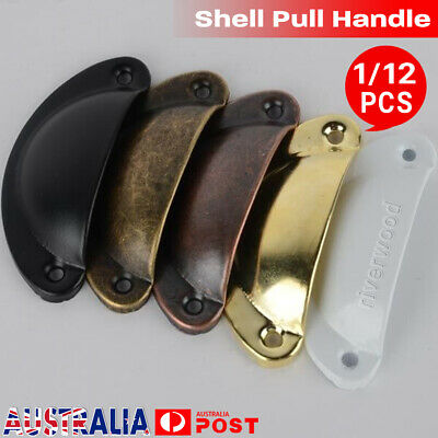 1/12PCS Vintage Cup Pull Shell Handle Furniture Retro Drawer Door Cabinet Knob