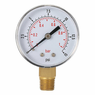 Mini Low Pressure Gauge For Fuel Air Oil Or Water 50mm 0-15 PSI 0-1 Bar UP