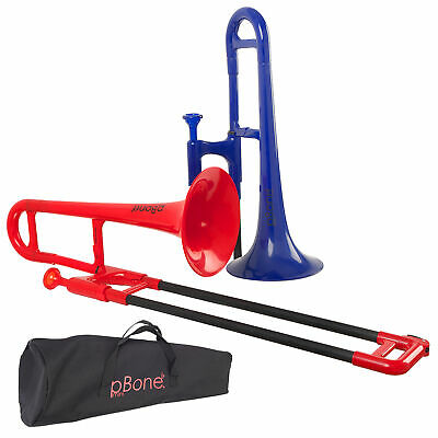 pBone Mini Plastic Trombone with Bag in Blue or Red