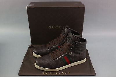 cf0a23d42 Gucci 221825 Men's GG Guccissima Leather High-Top Sneakers Size 11 -Brown