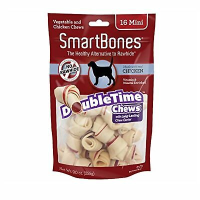 SmartBones DoubleTime Chicken Dog Chew Long Lasting Rawhide Free Mini 16 pack