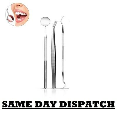 Professional DENTAL 3 PIECE SCALERS Probe Pick SET Mouth Mirror STEEL Tool KIT