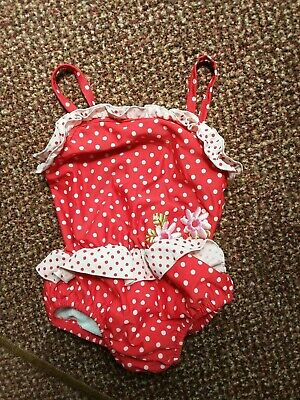Mothercare - Baby Girls Red/White Spotted Swimsuit With Nappy Liner - Size Large