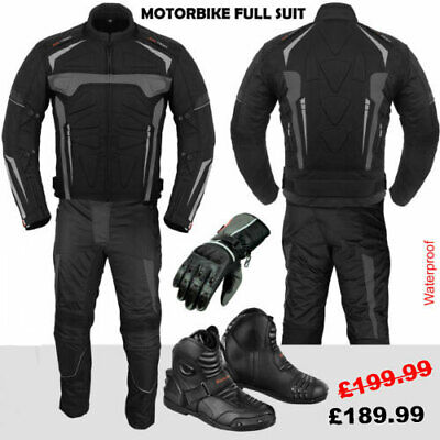 Mens Motorcycle Motorbike Suit Waterproof Racing Suit Jacket Trouser Boot Gloves