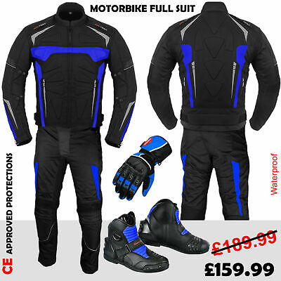 Motorcycle Racing Suit Motorbike Jacket Trouser Waterproof Leather Shoes Gloves