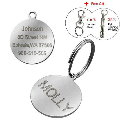 Stainless Steel Round Personalised Dog Tags Disc Disk Pet Cat Name ID Collar Tag