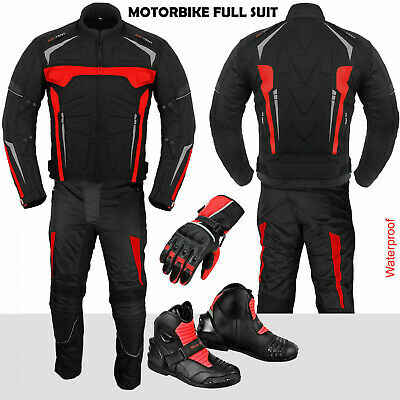 Motorbike Racing Suit Waterproof Motorcycle Jacket Trouser Leather Shoes Gloves