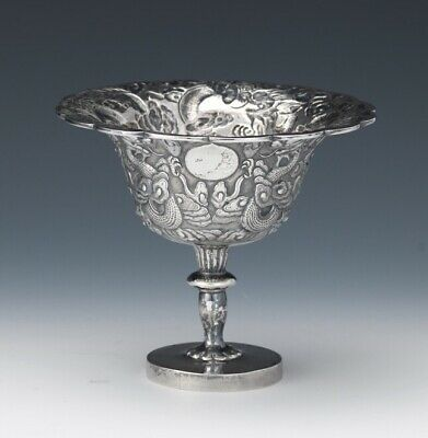 Chinese Export Sterling Silver Tazza Cup Tuck Chang 19th C Rare