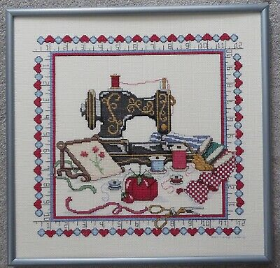 "Finished & Framed SEWING MACHINE Cross Stitch Sampler 18"" x 18"" EUC"