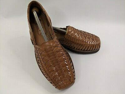 SUNSTEPS Mens Shoe Sz 10 Brown Handwoven Leather Huarache Slip On Sandals Loafer