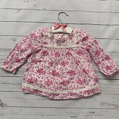 Baby Girls 6-12 Months - Blouse Top - BABY BODEN Pink White Floral Shirt