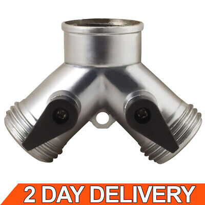 Garden Water Hose Y Connector 2 Two Way Heavy Duty Faucet Quick Splitter Metal