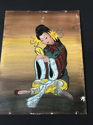 20th Century Original  (Norman) TOLSON Oriental Painting Cardboard Young Woman