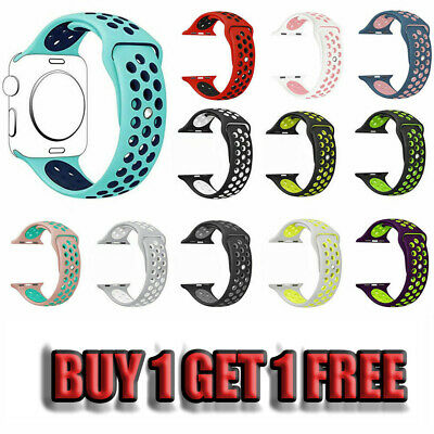 For Apple Watch 123 38MM 42MM Replacement Strap iWatch Silicone Sport Wrist Band