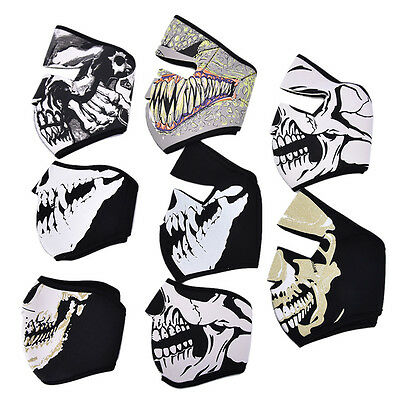 Motorcycle Cycling Ski Outdoor Ghost Skull Balaclava Neck Hood Full Face Mask HL