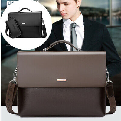 Genuine Leather Briefcase Shoulder Messenger Business Laptop Waterproof Bag Men