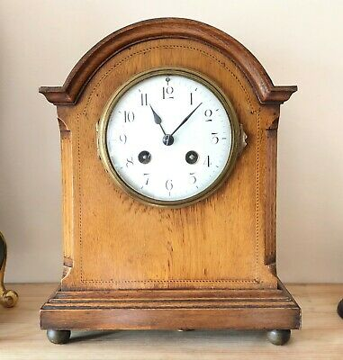 Antique Inlaid French Pendulum Mantle Clock Striking On A Gong *** Working ***