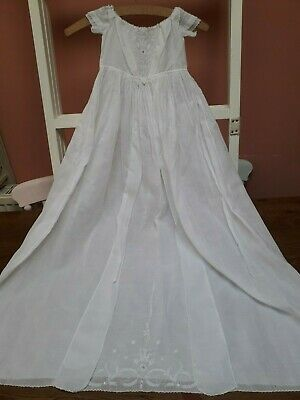Antique Christening Gown Ayrshire Dress Hand Embroidery White Cotton Batiste Law