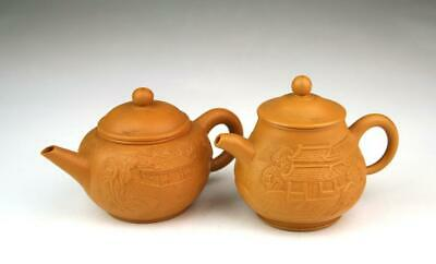 Pair Of Fine Vintage 20th Century Chinese Yixing Style Small Tea Pots With Lids