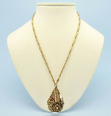 Vintage Necklace 1920s Art Deco Clear & Amber Crystal Goldtone Pendant Jewellery