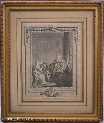 """Antique 18th Century French Engraving """"Marriage Agreements"""" after QueVerdo"""